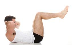 Barn danar sportmanen, kondition sommuskeln modellerar grabben övar isolat Royaltyfri Bild
