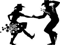 Barn Dance Silhouette. Couple dancing Country Western, EPS 8 vector silhouette illustration, no white objects Stock Photo