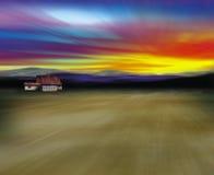 Barn in desert. Illustration of a Barn in the desert stock illustration