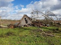 Barn destroyed by severe weather stock images