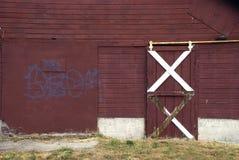 Barn door. Rural Barn door with graffiti Stock Photos