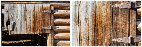 Barn door logs western old rusted hinges collage. Weathered rotten wooden boards barn door hardware rusty hinges house building with log walls grungy unique Stock Image