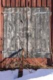 Barn Door in Winter Royalty Free Stock Photos
