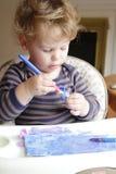 Barn dra konst för litet barn Arkivfoton