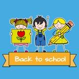 Barn drar tillbaka till skolar Royaltyfria Foton