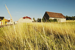 Barn at the end of the village Keblice in Ceske stredohori region in czech landscape Stock Photos