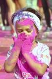 Barn färgkörning, som, dero, smink, flicka Arkivbild