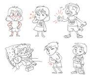 Barn får sjuka roligt tecknad filmtecken vektor illustrationer