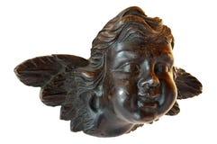 barn för ängelskulpturträ royaltyfria bilder