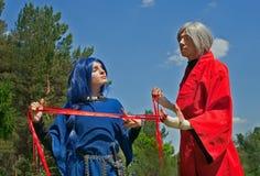 barn för 1 cosplay mankvinna Royaltyfri Bild