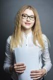 barn för affärsexponeringsglaskvinna fotografering för bildbyråer