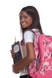barn för afrikansk amerikanhögskolestudentkvinna Royaltyfri Foto
