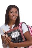 barn för afrikansk amerikanhögskolestudentkvinna Arkivbild