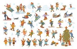 Barn för aktiv vinter och för glad jul, pojke och flickor som gör snögubbesnöängeln, lek som sledding, skridskoåkning, skidåkning vektor illustrationer