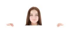 barn för banerholdingkvinna royaltyfria foton