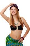 barn för bikiniståendekvinna royaltyfri bild