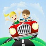 barn för bilmankvinna Royaltyfri Fotografi