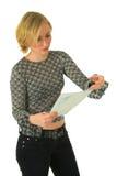 barn för bokstavsavläsningskvinna arkivfoto