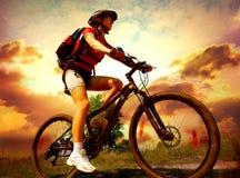 barn för cykelridningkvinna Royaltyfri Foto