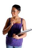 barn för deltagare för blyertspenna för bokkvinnligholding arkivfoton