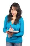 barn för deltagarekvinnawriting arkivbilder