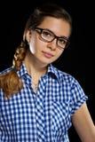 barn för exponeringsglasståendekvinna Royaltyfria Bilder