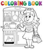 Barn för färgläggningbok som spelar tema 1 vektor illustrationer