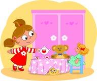 barn för flickaservingtea Royaltyfria Bilder