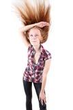 barn för flickaståenderedhead Royaltyfri Foto