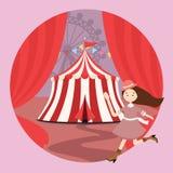 Barn för flickor för unge för nöjesfält för cirkustält öppnar gardinen Royaltyfri Foto