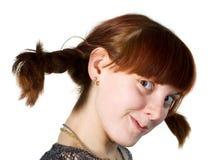 barn för framsidaflickaöverrrakning Fotografering för Bildbyråer