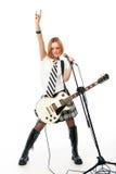 barn för gitarrrockstjärna royaltyfri fotografi