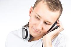 barn för hörlurarmanstående arkivfoton