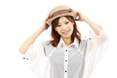 barn för hattståendekvinna Royaltyfri Foto