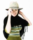 barn för hattsugrörkvinna royaltyfria bilder