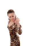 barn för klänningkvinnligleopard Arkivfoton