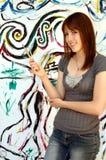 barn för konstnärkvinnligmålare Arkivfoto