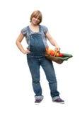 barn för korgfruktgravid kvinna royaltyfri fotografi