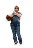barn för korgfruktgravid kvinna arkivbilder