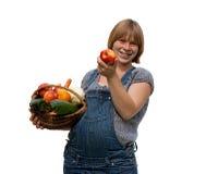 barn för korgfruktgravid kvinna royaltyfria foton