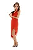 barn för kvinna för aftonkappa rött Royaltyfri Foto