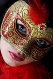 barn för kvinna för attraktiv härlig carnivguldstående slitage Fotografering för Bildbyråer