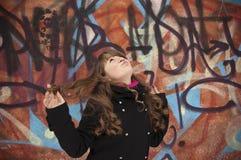 barn för kvinna för bakgrundsdansvägg Royaltyfri Foto