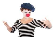 barn för kvinna för clownframsida slitage Fotografering för Bildbyråer