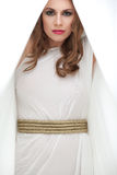 barn för kvinna för grekisk stående för klänning le arkivbild