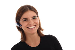 barn för kvinna för hörlurar med mikrofonfotomateriel royaltyfri fotografi