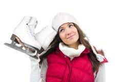 barn för kvinna för isskridskovinter Royaltyfri Bild