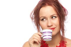 barn för kvinna för kaffekopp Arkivfoto