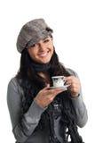 barn för kvinna för leende för kaffekopp Royaltyfri Foto