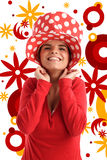 barn för kvinna för materiel för hattfoto nätt rött royaltyfri illustrationer